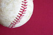 Baseball Close Up Framed Prints - Studio Shot Of Old Baseball Ball Framed Print by Winslow Productions