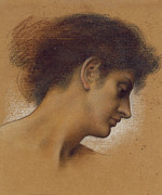 Chalk Pastels Framed Prints - Study of a head Framed Print by Evelyn De Morgan