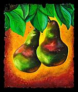 Pear Art Mixed Media Prints - Study of Two Pears Print by OLena Art