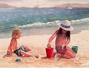 Kids Playing Prints - Summer Days Print by Laura Lee Zanghetti