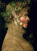 Food And Beverage Paintings - Summer by Giuseppe Arcimboldo