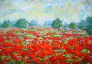 Poppies Field Paintings - Summer by Mirjana Gotovac