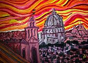 Sienna Italy Metal Prints - Sun at Night Siennas Delight Metal Print by Ira Stark