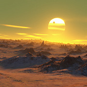Red Giant Photos - Sun Over Dying Earth by Detlev Van Ravenswaay