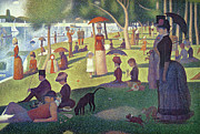 Dogs Metal Prints - Sunday Afternoon on the Island of La Grande Jatte Metal Print by Georges Pierre Seurat