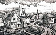 Texas Drawings - Sunday Houses Along Old Church Street by Donn Kay
