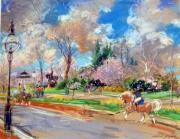 Statue Pastels Prints - Sunday in the Park Print by Kamil Kubik