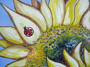 Summer Fun Paintings - Sunflower and Ladybug by Leslie Manley