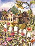 Old Houses Painting Posters - Sunflower Fish Poster by Cori Caputo