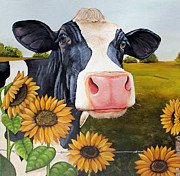 Holstein Framed Prints - Sunflower Sally Framed Print by Laura Carey