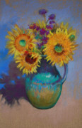 Purple Flowers Pastels Posters - Sunflowers in Vase 1 Poster by Linda Richichi