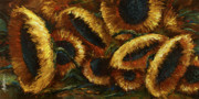Pallet Knife Framed Prints - Sunflowers Framed Print by Michael Lang