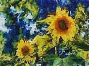 Texture Floral Digital Art Prints - Sunflowers Print by Michelle Calkins
