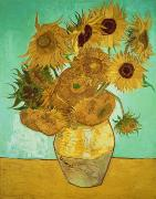 Impressionism Tapestries Textiles Prints - Sunflowers Print by Vincent Van Gogh