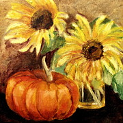 Lenore Gaudet - Sunflowers with Pumpkin