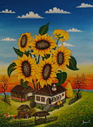 Serbian Painting Originals - Sunflowers by Zoran Zaric