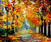 Yellow Leaves Painting Prints - Sunny October Print by Leonid Afremov