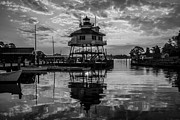 Black And White Drum Posters - Sunrise at Drum Point Lighthouse Poster by Kaye Seaboch