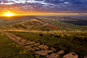 Derbyshire Cross Prints - Sunrise On Mam Tor Derbyshire Print by Darren Burroughs