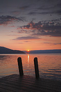 Dock Prints Posters - Sunrise Over Keuka V Poster by Steven Ainsworth