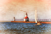Lighthouse Digital Art Originals - Sunset Aglow by Mary Timman