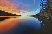 Fallen Leaf Photo Posters - Sunset at Fallen Leaf Lake Poster by Jacek Joniec