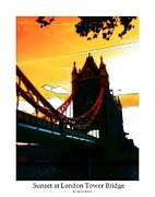 Tower Digital Art - Sunset at Tower Brigde  by Stefan Kuhn