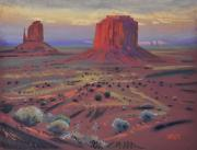 Landscape Prints Pastels Framed Prints - Sunset in Monument Valley Framed Print by Donald Maier