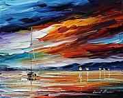 Lighthouse Oil Paintings - Sunset by Leonid Afremov