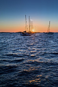 Moorings Prints - Sunset moorings Chausey Print by Gary Eason