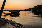 Tree In Background Framed Prints - Sunset on Geist Reservoir in Lawrence IN Framed Print by Semmick Photo