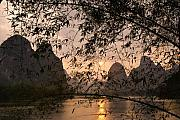 Chinese Posters - Sunset on the Li River Poster by Michele Burgess