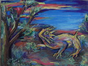 Reptiles Pastels Posters - Sunset on the Mogollon Rim Poster by Charles Wells