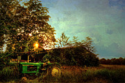 Farming Barns Posters - Sunset on Tractor Poster by Benanne Stiens