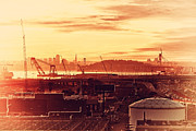 Tower Crane Posters - Sunset Over San Francisco Skyline Through The Port of Oakland . 7D11028 Poster by Wingsdomain Art and Photography