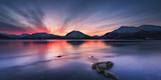 Troms County Prints - Sunset Over Tjeldsundet, Troms County Print by Arild Heitmann