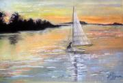 Boats Pastels Prints - Sunset Sail Print by Judy Pearson