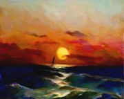 Sea Paintings - Sunset Sail by Karen Conine