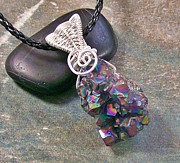 Jordan Jewelry - Sunshine Titanium Amethyst Crystal Druzy and Silver Pendant by Heather Jordan
