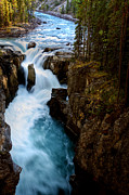 Park Scene Digital Art Prints - Sunwapta Falls in Jasper National Park Print by Mark Duffy