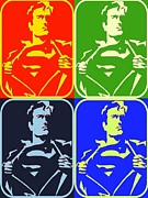 Lichtenstein Prints Posters - Superman Taking It Off Poster by Robert Margetts