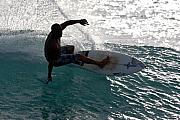 Surf Lifestyle Posters - Surfer Surfing the blue waves at Dumps Maui Hawaii Poster by Pierre Leclerc