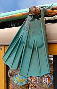 Longboard Framed Prints - Surfin Fins Framed Print by Ron Regalado