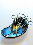 Scissors Posters - Surgical Instruments In A Dish Poster by Tek Image