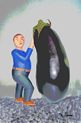 Woodcarving Posters - Suspicious of eggplants Poster by Roland LaVallee