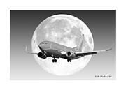 Passenger Plane Metal Prints - SW Moon Metal Print by Brian Wallace