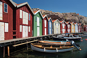 Weathered Houses Posters - Swedish Fishing Village Poster by Inge Johnsson
