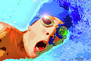 Freestyle Posters - Swimmer Poster by Stephen Younts