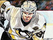 Hockey Drawings Framed Prints - Sydney Crosby Framed Print by Dave Olsen