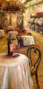 Wine Glasses Prints - Table For Two Print by Bonnie Goedecke